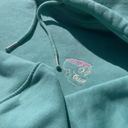 Hoodie teal organic cotton embroidered Dead Fresh